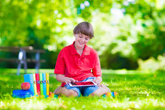School boy with tablet computer Stock Image