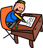 School Boy Test. A cute doodle drawing of a happy little boy in school uniform writing at a desk Royalty Free Stock Photo