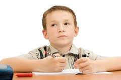 School boy thinking Royalty Free Stock Photo