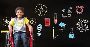 School boy in wheelchair and Education drawing on blackboard for school. Digital composite of School boy in wheelchair and Education drawing on blackboard for royalty free stock photography