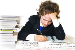 School boy working hard Stock Images