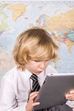 School boy and PC computer tablet  Royalty Free Stock Photo