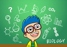 School boy write chemistry biology object in school blackboard Stock Photo