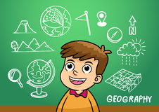 School boy write geography sign object in school blackboard Stock Photos