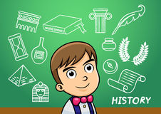 School boy write history sign object in school blackboard. Royalty Free Stock Photos