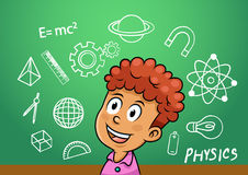 School boy write physics symbol object  icon in school blackboard Royalty Free Stock Photo