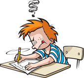 School Boy writing Stock Photo