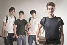 School Boys. Smiling oys with backpacks and books Stock Photo