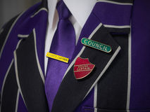 School boys blazer with school badges Royalty Free Stock Photography