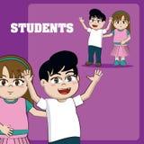 Kids students cartoons. School boys and girls cute cartoons vector illustration graphic design royalty free illustration