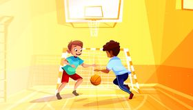 School boys play basketball vector illustration. Boys playing basketball vector illustration of black Afro American kid with ball in school gymnasium. Little royalty free illustration