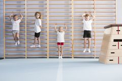 School boys on wall bars. Young, active school boys and girls standing and hanging from wall bars, warming up for physical education athletics class Royalty Free Stock Photos