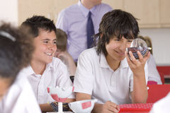 School boys working with biology model in classroom Royalty Free Stock Image