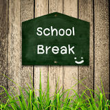 School brak message on Blackboard Stock Photo