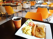 School breakfast in campus cafeteria stock photos