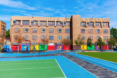 School in the Bronx, New York City. School with playing field in the Bronx, New York City royalty free stock photos