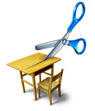 School Budget Cuts. Crisis concept and education cutbacks symbol as an old class desk being cut by scissors as a metaphor for belt tightening challenges with Royalty Free Stock Images