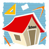 School building. Illustration of school building with education elements Stock Photos