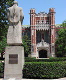 School building. Statue in front of a school building at Oklahoma University Royalty Free Stock Images