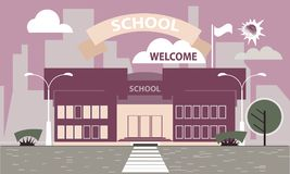 School building against the background of the city. Flat style. Banner, poster-invitation to school. The building of the school against the background of the Royalty Free Stock Photos