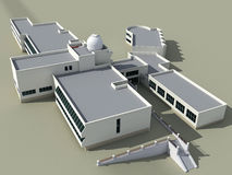 School building. Architecture 3d sketch of the school building with an observatory Stock Photo