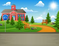 School building with a beautiful nature. Illustration of School building with a beautiful nature stock illustration