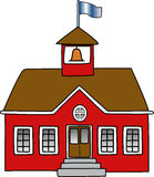 School Building. With bell and flag Stock Images