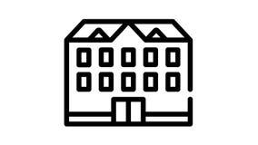 school building black icon animation
