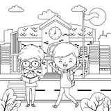 School building and boys design stock illustration
