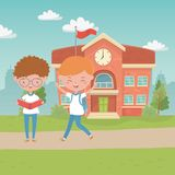 School building and boys design royalty free illustration