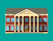 School building. Brick facade with clocks. royalty free illustration