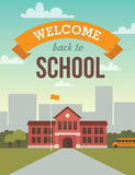 School building. Bright flat illustration of school building for back to school banner or poster design Royalty Free Stock Photos