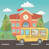 School building and bus design royalty free illustration