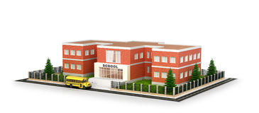 School building, bus and front yard. Flat style illustrat. Ion isolated on white background. 3d illustration royalty free stock photo
