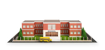 School building, bus and front yard of the school building. Royalty Free Stock Photo