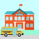 School building, bus and front yard. simple vector illustration isolated on blue background. stock illustration