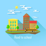 School building, bus and front yard with students children. Flat style vector illustration Stock Images