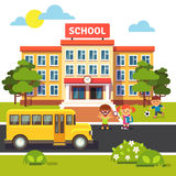 School building, bus with students children Stock Image