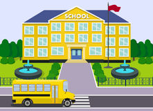 School building and bus. Vector graphic. Flat schoolhouse. School building with yellow bus and fountains over landscape background. Vector illustration Royalty Free Stock Photography