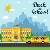 School building and bus Stock Photos