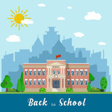 School building and bus. Welcome back to school. School building, front yard with students children with city landscape. Vector illustration in flat style Stock Image