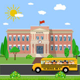 School building and bus. Welcome back to school. School building, bus and front yard with students children. Vector illustration in flat style Royalty Free Stock Photography