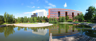 School Building in Chinese University. A group of buildings in BJUT campus. The lake named Moon Lake is round with an eyot growing grass.nWhen the weather is Royalty Free Stock Images