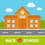 School building with clock and windows. City construction. Road, sky, cloud. Education clipart collection. Back to school text.  Royalty Free Stock Photos