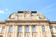 School building with clocks Stock Images