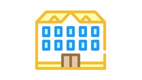 school building color icon animation