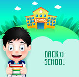 School Building with Cute Little Kid Character Going Back to School Stock Photography