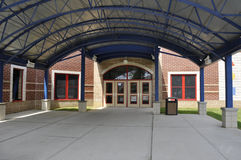 School building entrance. Entry doors for a modern elementary school building Stock Photo