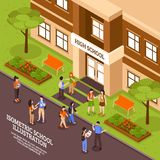 School Building Entrance Isometric Poster. High school building outdoor area in summer isometric view poster with entrance door and students vector illustration Royalty Free Stock Images