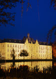 School building in the evening in Litovel, Czech Republic Royalty Free Stock Image